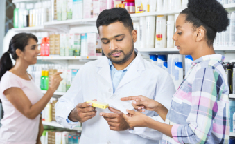 pharmacist and a customer talking